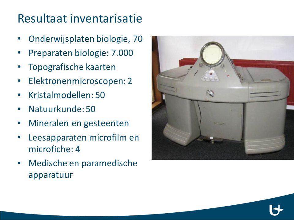 Resultaat inventarisatie Onderwijsplaten biologie, 70 Preparaten biologie: 7.000 Topografische kaarten Elektronenmicroscopen: 2 Kristalmodellen: 50 Na