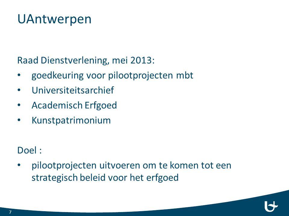 UAntwerpen Raad Dienstverlening, mei 2013: goedkeuring voor pilootprojecten mbt Universiteitsarchief Academisch Erfgoed Kunstpatrimonium Doel : piloot