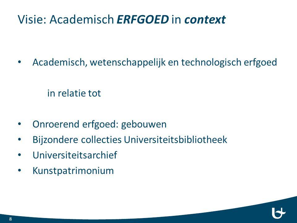 Visie: Academisch ERFGOED in context Academisch, wetenschappelijk en technologisch erfgoed in relatie tot Onroerend erfgoed: gebouwen Bijzondere colle