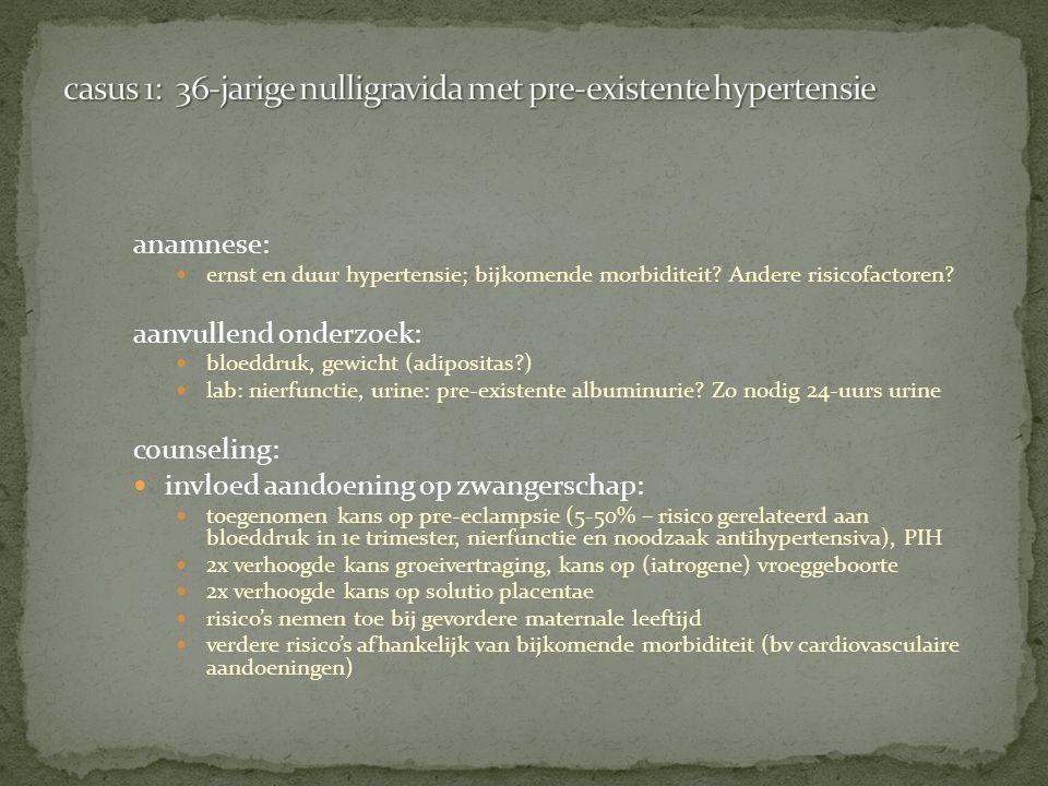 anamnese: ernst en duur hypertensie; bijkomende morbiditeit? Andere risicofactoren? aanvullend onderzoek: bloeddruk, gewicht (adipositas?) lab: nierfu