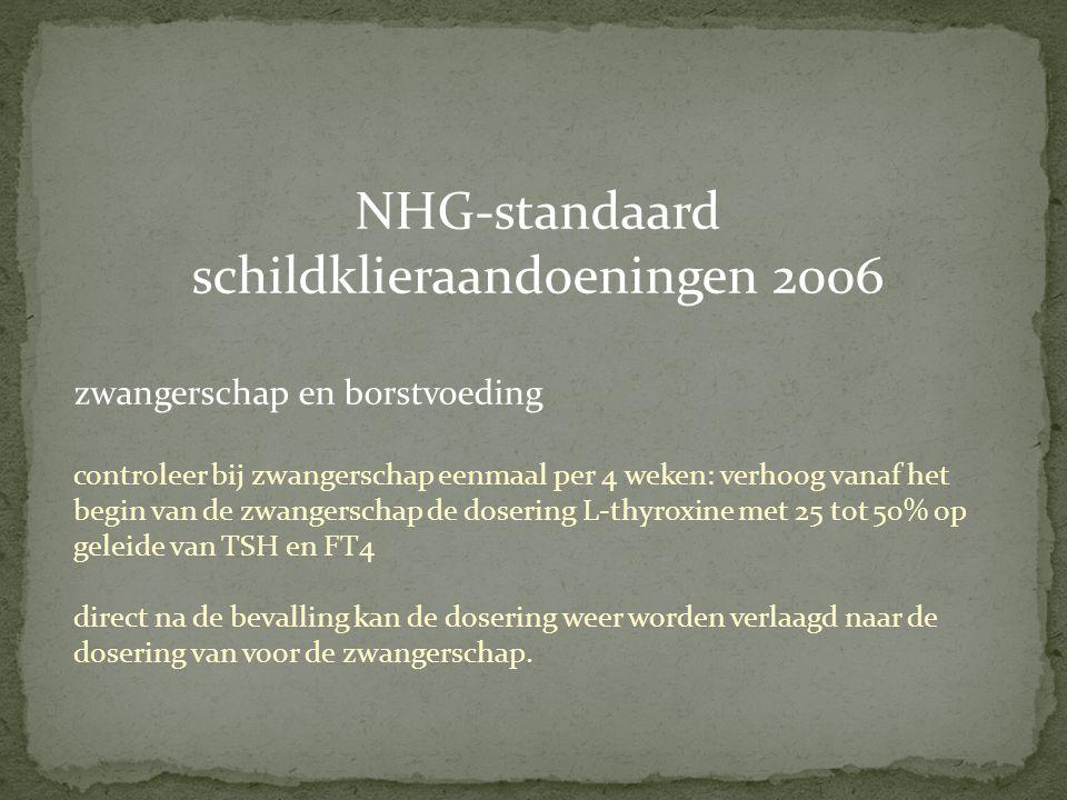 NHG-standaard schildklieraandoeningen 2006 zwangerschap en borstvoeding controleer bij zwangerschap eenmaal per 4 weken: verhoog vanaf het begin van d