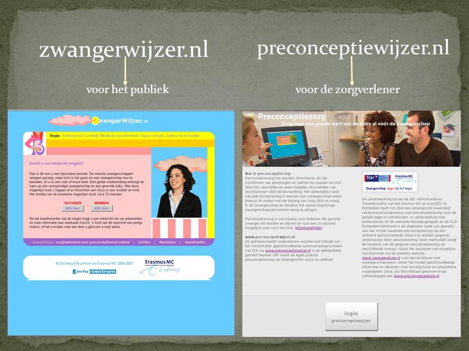 zwangerwijzer.nl voor het publiek preconceptiewijzer.nl voor de zorgverlener