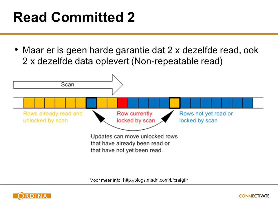 Read Committed 2 Maar er is geen harde garantie dat 2 x dezelfde read, ook 2 x dezelfde data oplevert (Non-repeatable read) Voor meer info: http://blogs.msdn.com/b/craigfr/