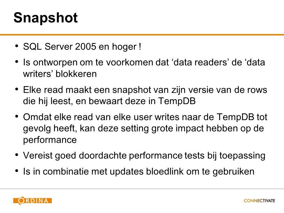 Snapshot SQL Server 2005 en hoger .