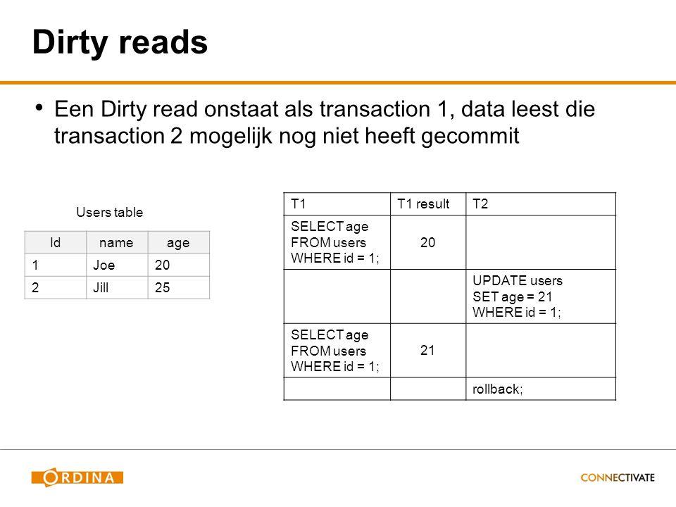 Dirty reads Een Dirty read onstaat als transaction 1, data leest die transaction 2 mogelijk nog niet heeft gecommit T1T1 resultT2 SELECT age FROM users WHERE id = 1; 20 UPDATE users SET age = 21 WHERE id = 1; SELECT age FROM users WHERE id = 1; 21 rollback; Idnameage 1Joe20 2Jill25 Users table