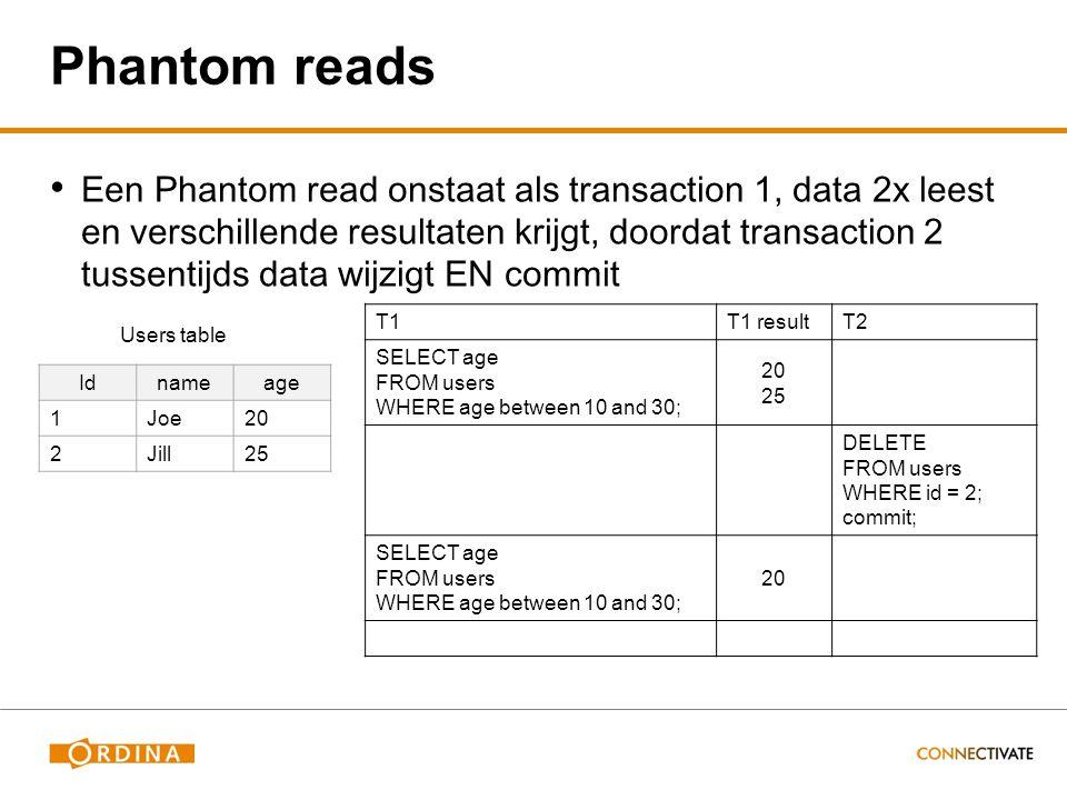 Phantom reads Een Phantom read onstaat als transaction 1, data 2x leest en verschillende resultaten krijgt, doordat transaction 2 tussentijds data wijzigt EN commit T1T1 resultT2 SELECT age FROM users WHERE age between 10 and 30; 20 25 DELETE FROM users WHERE id = 2; commit; SELECT age FROM users WHERE age between 10 and 30; 20 Idnameage 1Joe20 2Jill25 Users table
