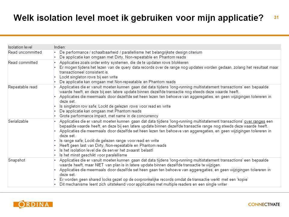Welk isolation level moet ik gebruiken voor mijn applicatie.