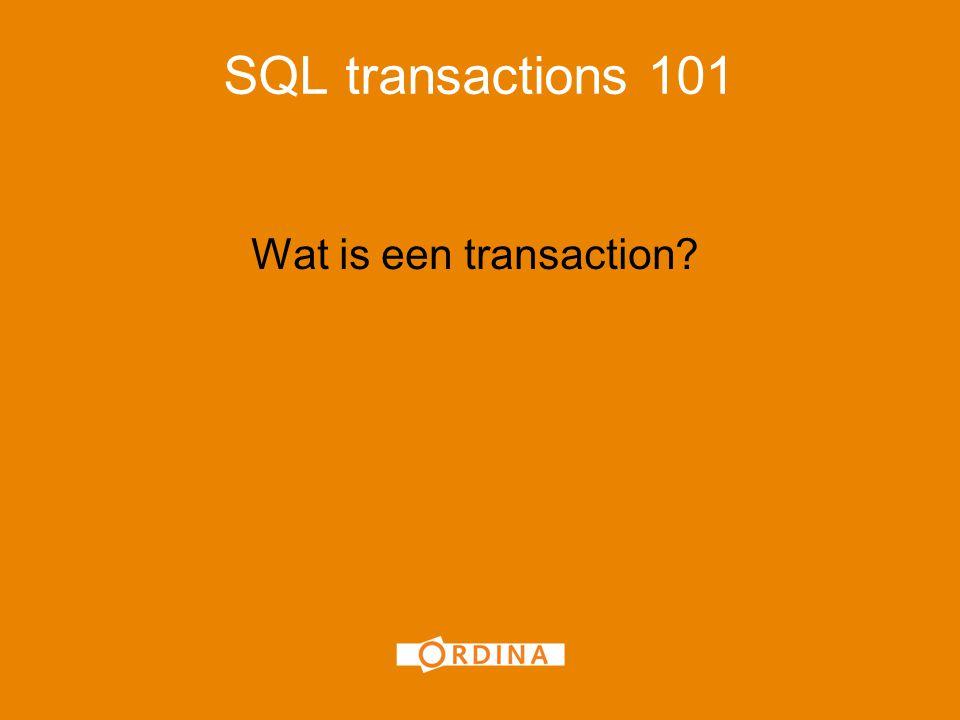 Transaction : Isolation Levels Dit zijn de 5 standaard isolation levels : Read Uncommitted Read Committed Repeatable Read Snapshot Serializable (SQL 2005 en hoger) Buiten beschouwing gelaten in deze presentatie (tijdgebrek): Row versioning & Read Committed Snapshot (DB option)