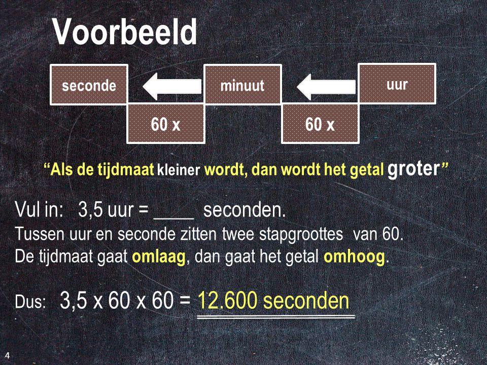"""3 Goed leren seconde 60 x minuut uur 60 x seconde 60 ÷ minuut uur 60 ÷ """"Als de tijdmaat kleiner wordt, dan wordt het getal groter """" """"Als de tijdmaat g"""