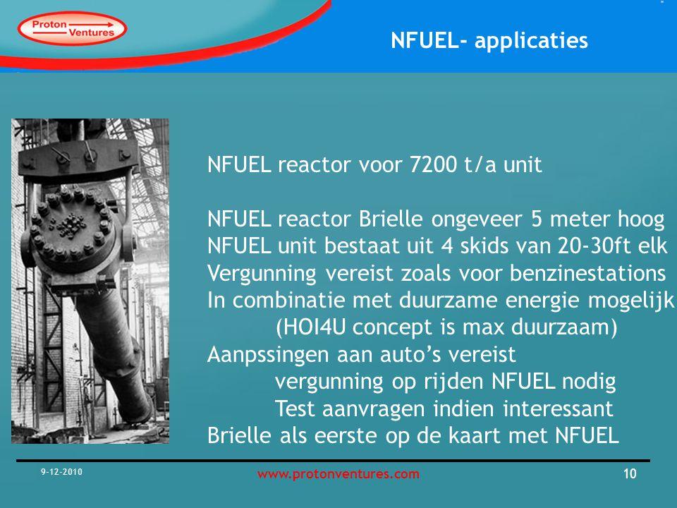 NFUEL- applicaties 9-12-2010 11www.protonventures.com De Brielse NFUEL Benzine pomp Productie van ca 1300 m3 NFUEL per jaar Goed voor ca 8*1300000 km= 10 Mkm/a Per auto 20 kkm/a= 500 auto's per jaar Prijs aan pomp: 0,75 ct/l incl 0,25 ct/l tax etc Prijs vergelijkbaar met Benzine Aanpassingen aan auto ca 2000 euro/auto