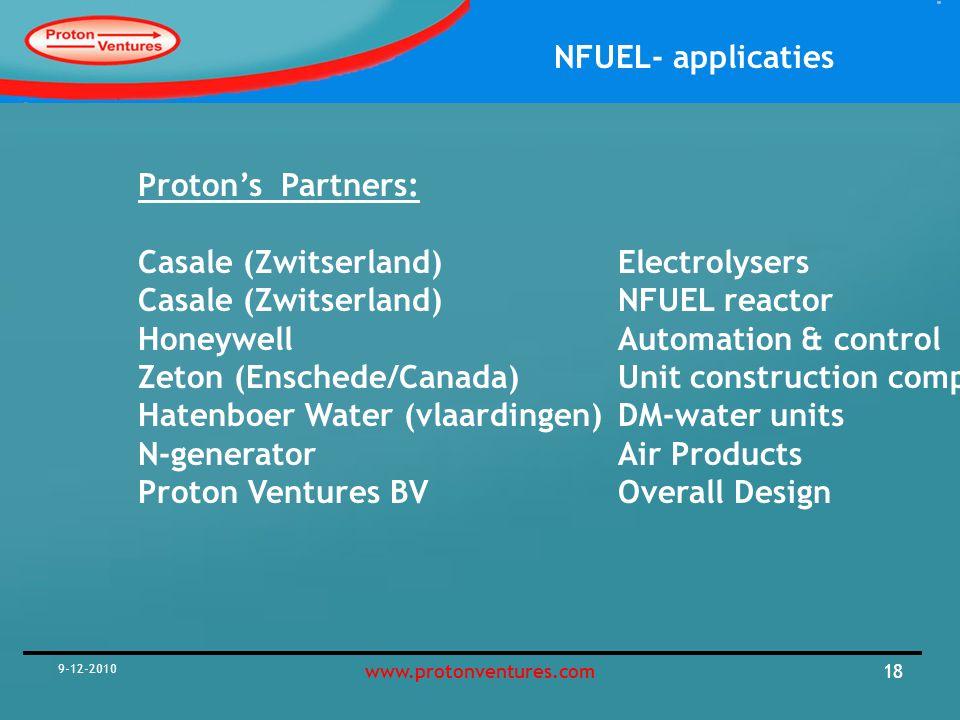 NFUEL- applicaties 9-12-2010 19www.protonventures.com DM-water Unit Electrolyser(s) PSA Unit Compressors make-up NFuel opslag Maximaal hergebruik grondstoffen Condensatie Product kwaliteit NFUEL process Zuivering grondstoffen/ recompressie Warmte optimisalisatie NFUEL ® -CONCEPT Pure O2