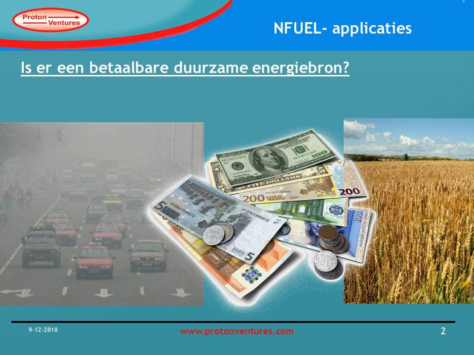 NFUEL- applicaties 18 december 2007 www.protonventures.com3 Praktijk Management, Engineering and Business Development Company www.waste2Products.com 60 (kleine en grotere) projecten gedaan sinds 2001 Gem.
