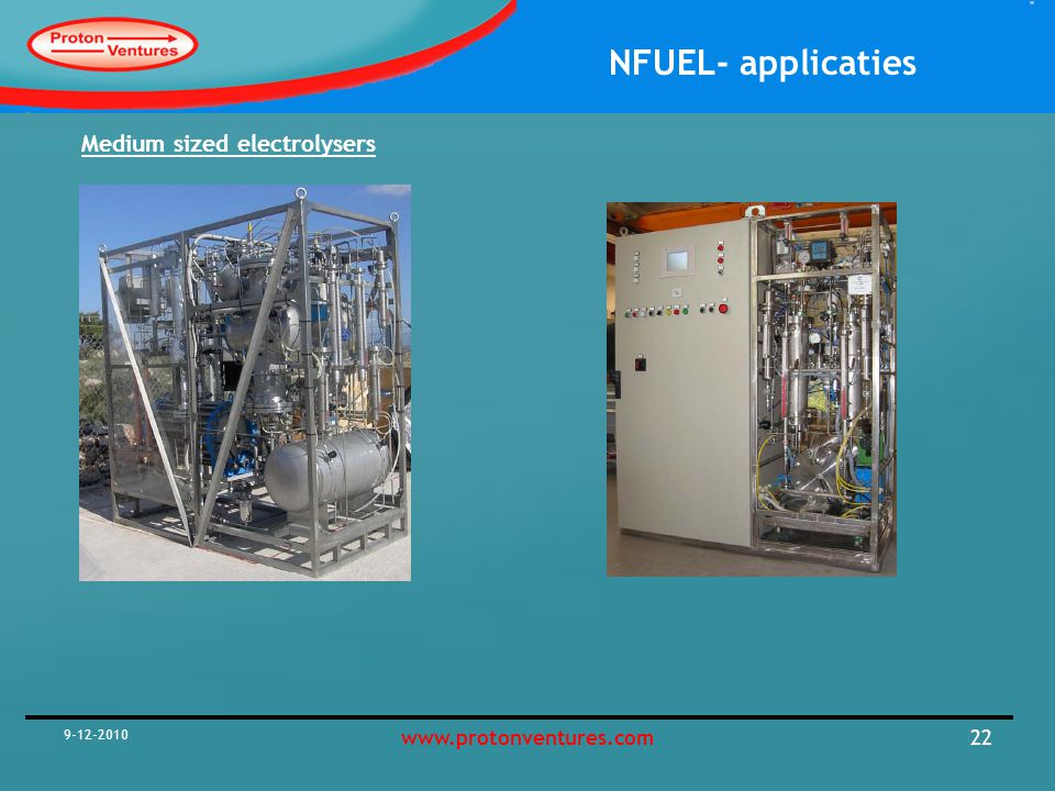NFUEL- applicaties 9-12-2010 22www.protonventures.com Medium sized electrolysers