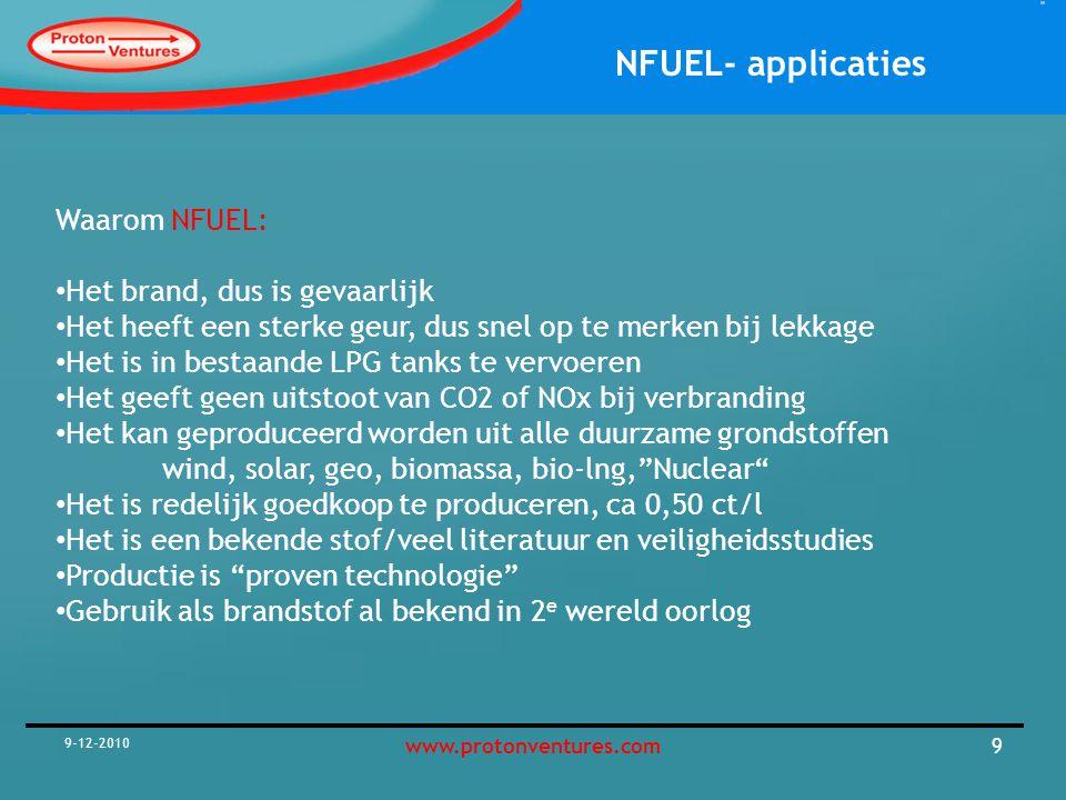 NFUEL- applicaties 9-12-2010 10www.protonventures.com NFUEL reactor voor 7200 t/a unit NFUEL reactor Brielle ongeveer 5 meter hoog NFUEL unit bestaat uit 4 skids van 20-30ft elk Vergunning vereist zoals voor benzinestations In combinatie met duurzame energie mogelijk (HOI4U concept is max duurzaam) Aanpssingen aan auto's vereist vergunning op rijden NFUEL nodig Test aanvragen indien interessant Brielle als eerste op de kaart met NFUEL