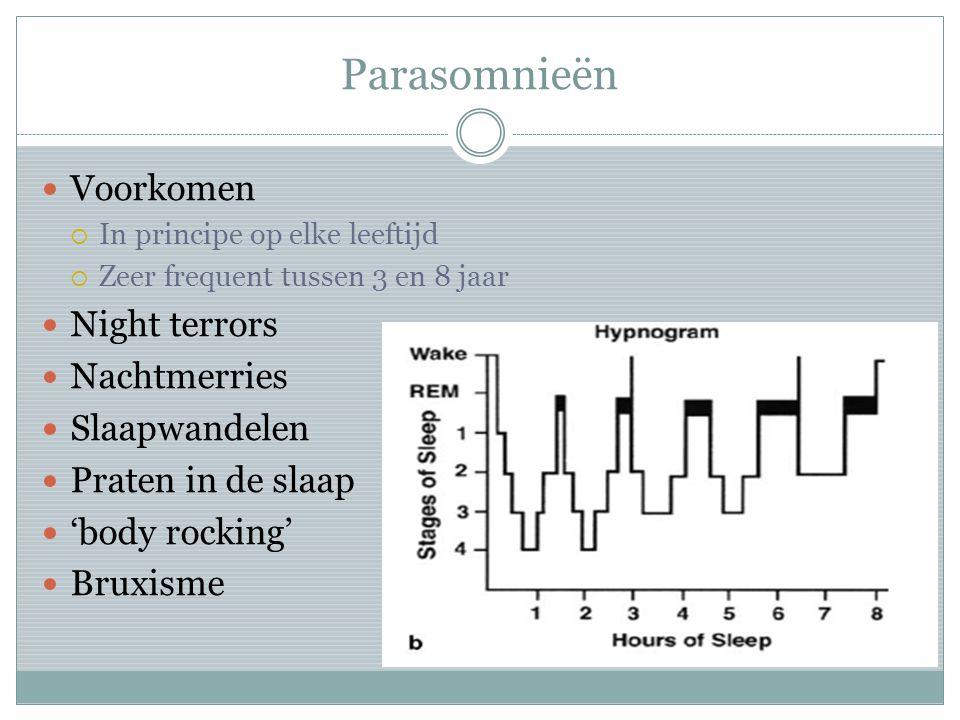Parasomnieën Voorkomen  In principe op elke leeftijd  Zeer frequent tussen 3 en 8 jaar Night terrors Nachtmerries Slaapwandelen Praten in de slaap '