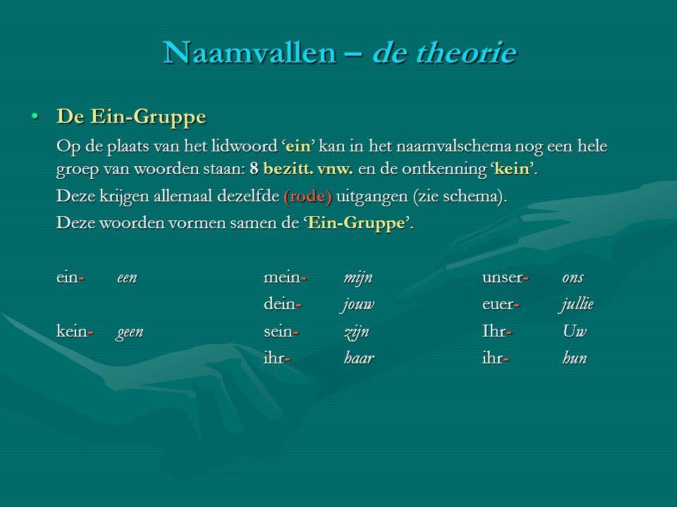 De Ein-GruppeDe Ein-Gruppe Op de plaats van het lidwoord 'ein' kan in het naamvalschema nog een hele groep van woorden staan: 8 bezitt. vnw. en de ont