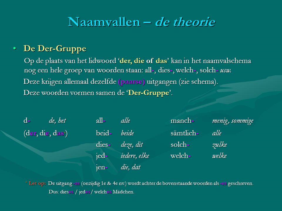 De Der-GruppeDe Der-Gruppe Op de plaats van het lidwoord 'der, die of das' kan in het naamvalschema nog een hele groep van woorden staan: all-, dies-,