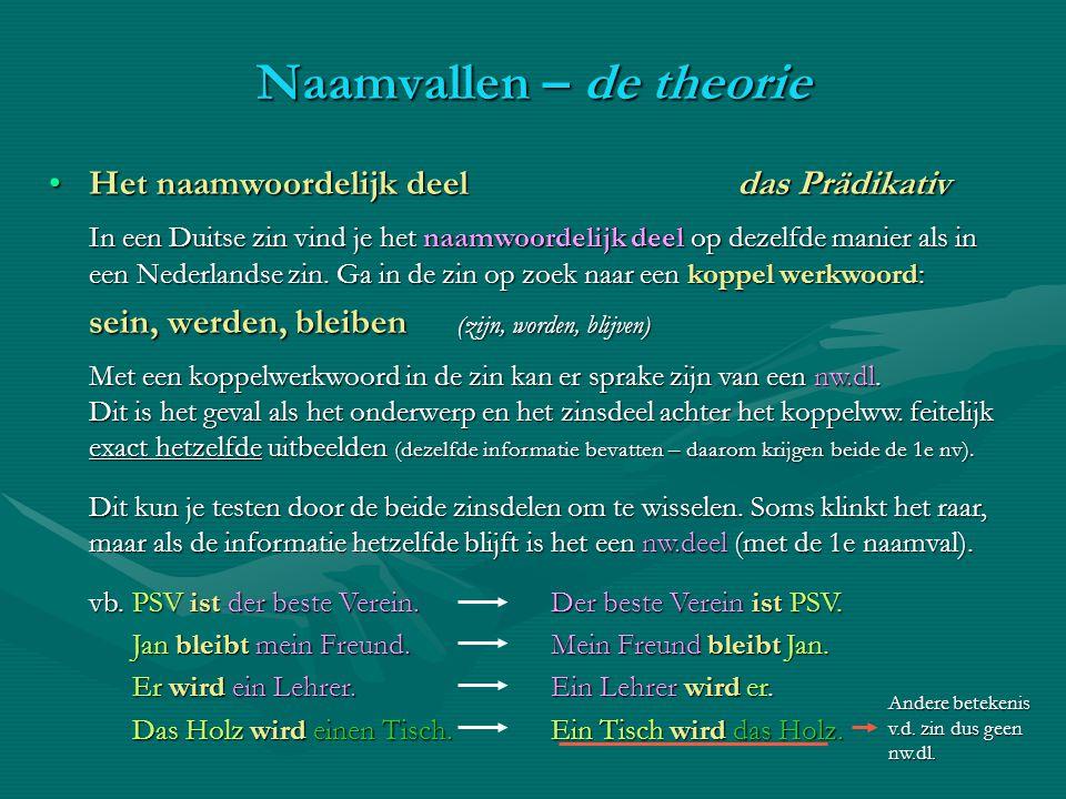 Het naamwoordelijk deel das PrädikativHet naamwoordelijk deel das Prädikativ In een Duitse zin vind je het naamwoordelijk deel op dezelfde manier als
