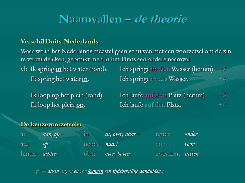 Verschil Duits-Nederlands Waar we in het Nederlands meestal gaan schuiven met een voorzetsel om de zin te verduidelijken, gebruikt men in het Duits ee