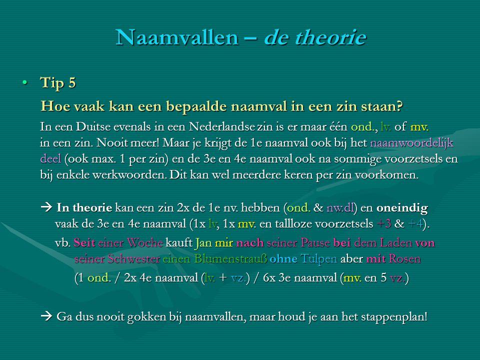 Tip 5Tip 5 Hoe vaak kan een bepaalde naamval in een zin staan? In een Duitse evenals in een Nederlandse zin is er maar één ond., lv. of mv. in een zin