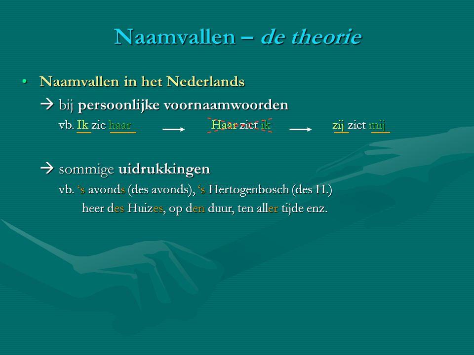 Naamvallen in het NederlandsNaamvallen in het Nederlands  bij persoonlijke voornaamwoorden vb. Ik zie haar Haar ziet ik zij ziet mij  sommige uidruk