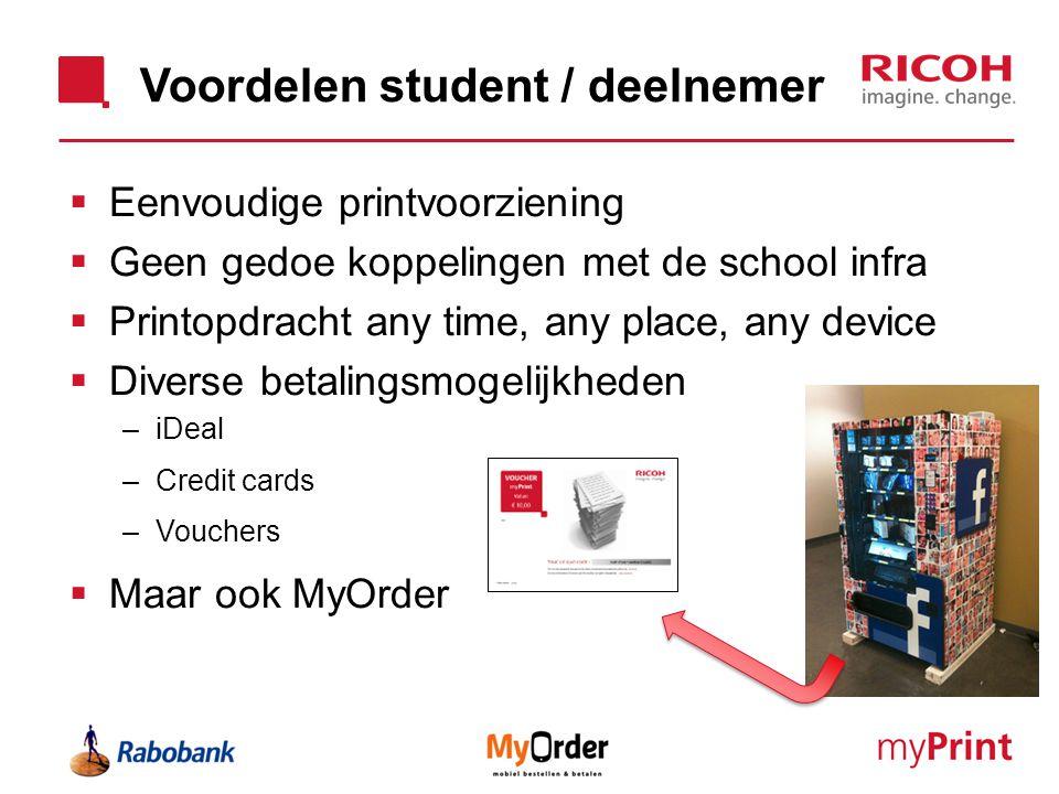 Voordelen student / deelnemer  Eenvoudige printvoorziening  Geen gedoe koppelingen met de school infra  Printopdracht any time, any place, any devi