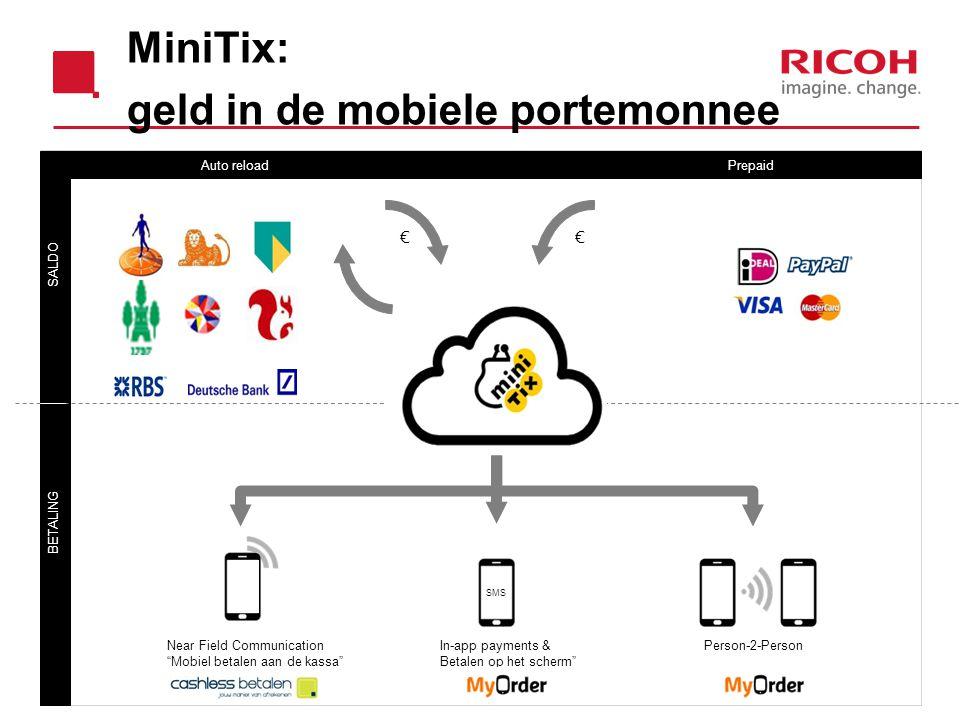 "SALDO BETALING Auto reload Prepaid Near Field CommunicationIn-app payments &Person-2-Person ""Mobiel betalen aan de kassa""Betalen op het scherm"" SMS €€"