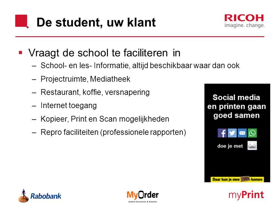 De student, uw klant  Vraagt de school te faciliteren in –School- en les- Informatie, altijd beschikbaar waar dan ook –Projectruimte, Mediatheek –Res