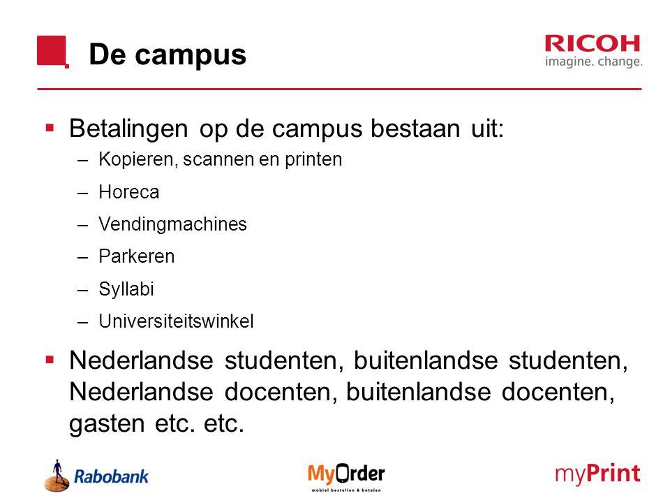 De campus  Betalingen op de campus bestaan uit: –Kopieren, scannen en printen –Horeca –Vendingmachines –Parkeren –Syllabi –Universiteitswinkel  Nede