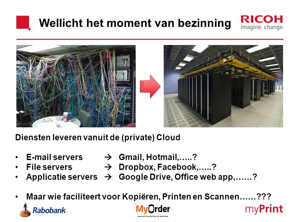 Wellicht het moment van bezinning Diensten leveren vanuit de (private) Cloud E-mail servers  Gmail, Hotmail,…..? File servers  Dropbox, Facebook,…..