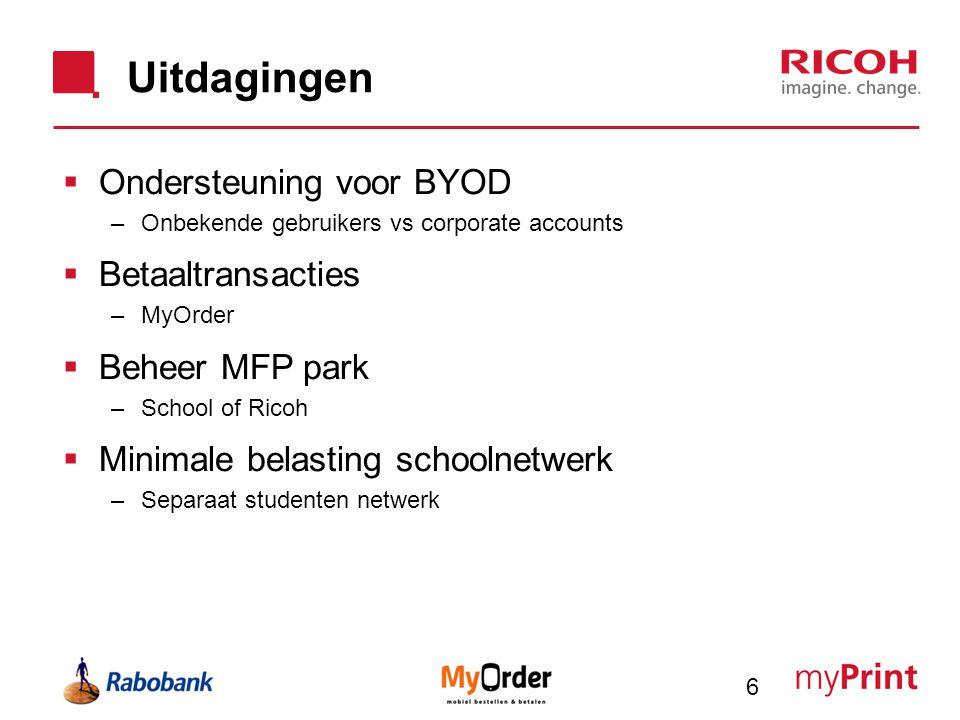 Uitdagingen  Ondersteuning voor BYOD –Onbekende gebruikers vs corporate accounts  Betaaltransacties –MyOrder  Beheer MFP park –School of Ricoh  Mi