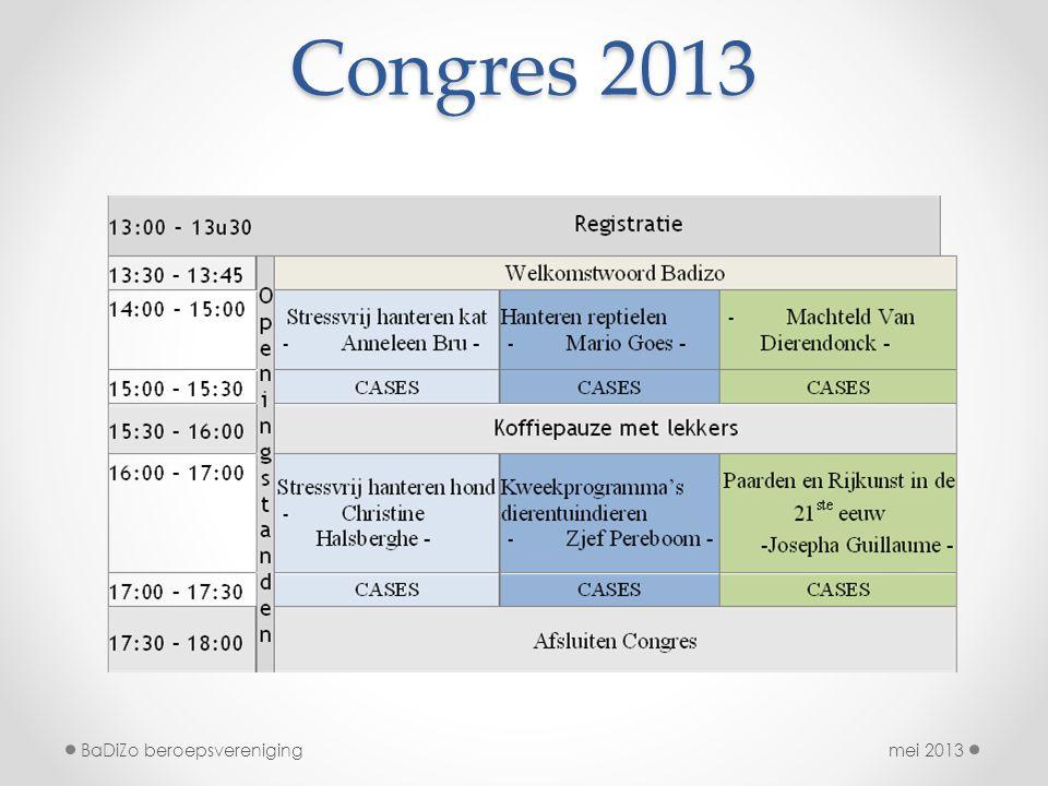 Congres 2013 mei 2013BaDiZo beroepsvereniging
