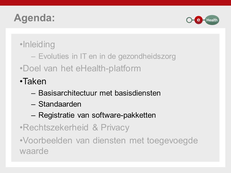 Agenda: Inleiding –Evoluties in IT en in de gezondheidszorg Doel van het eHealth-platform Taken –Basisarchitectuur met basisdiensten –Standaarden –Reg