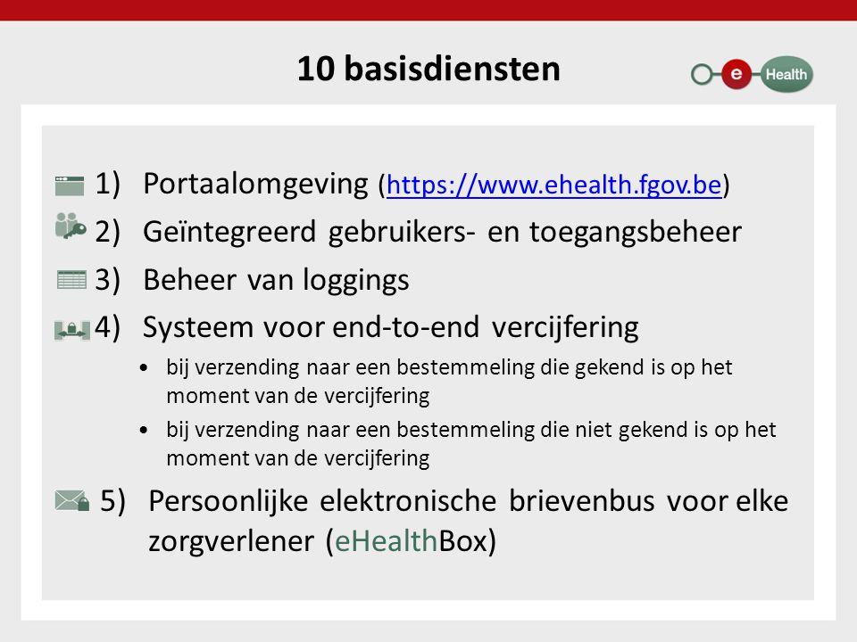 10 basisdiensten 1)Portaalomgeving (https://www.ehealth.fgov.be)https://www.ehealth.fgov.be 2)Geïntegreerd gebruikers- en toegangsbeheer 3)Beheer van loggings 4)Systeem voor end-to-end vercijfering bij verzending naar een bestemmeling die gekend is op het moment van de vercijfering bij verzending naar een bestemmeling die niet gekend is op het moment van de vercijfering 5)Persoonlijke elektronische brievenbus voor elke zorgverlener (eHealthBox)