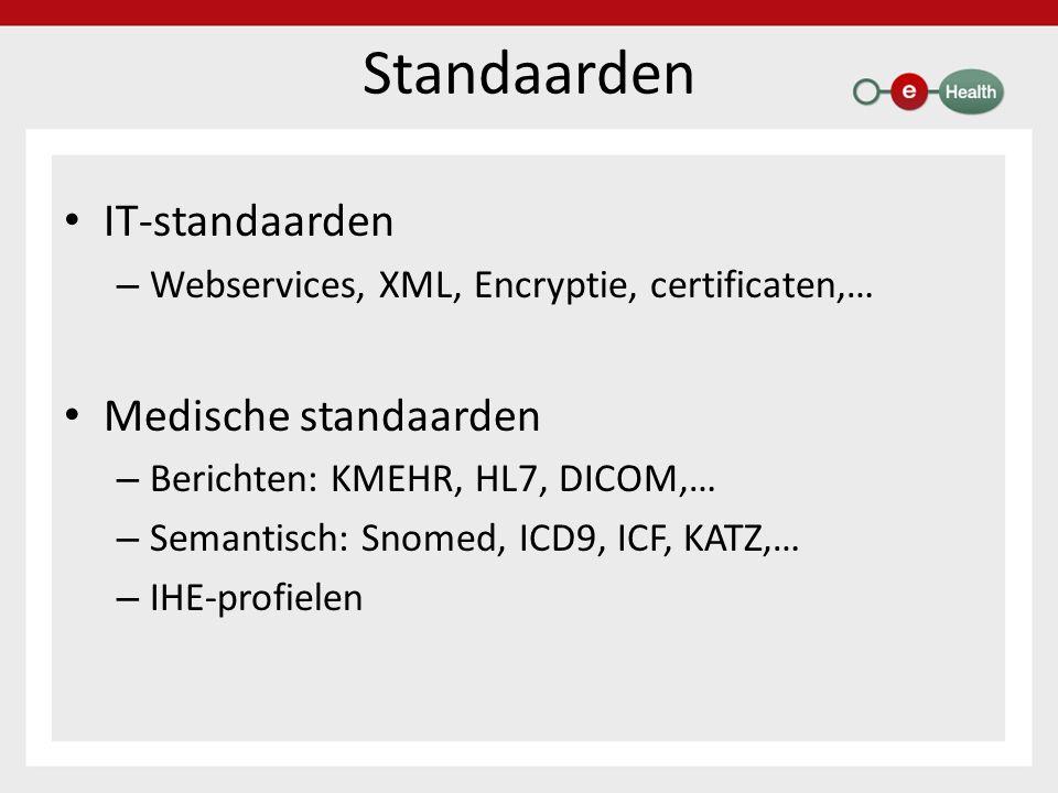 IT-standaarden – Webservices, XML, Encryptie, certificaten,… Medische standaarden – Berichten: KMEHR, HL7, DICOM,… – Semantisch: Snomed, ICD9, ICF, KA
