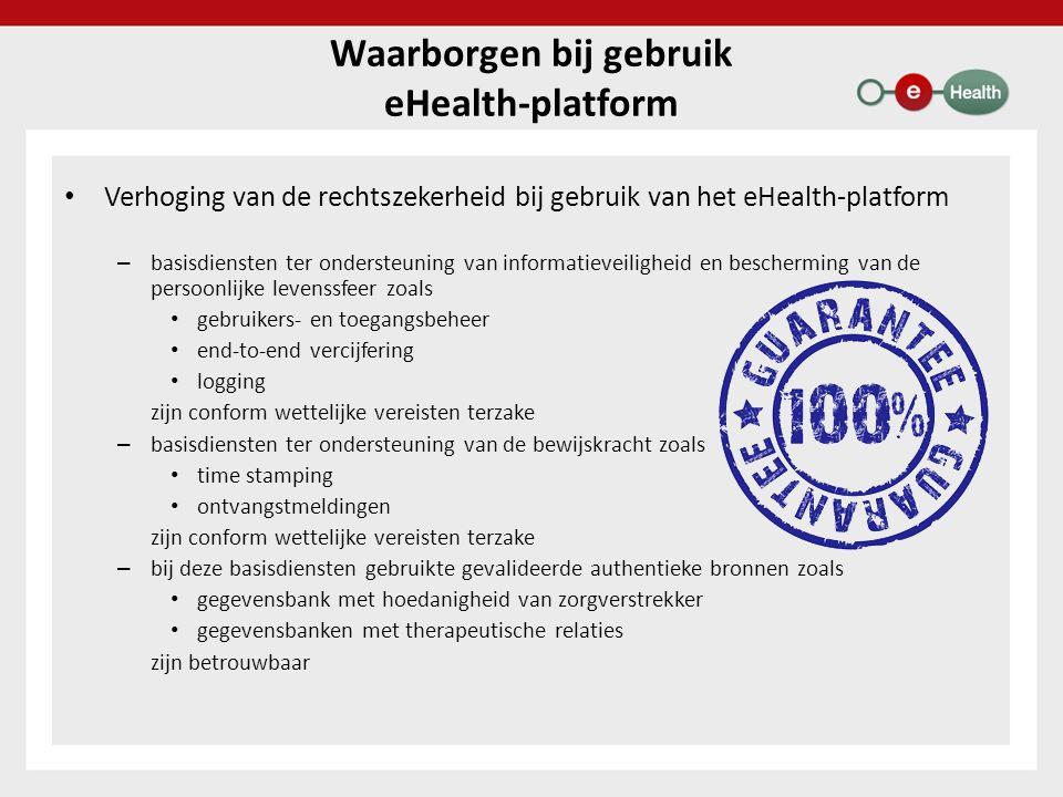 Verhoging van de rechtszekerheid bij gebruik van het eHealth-platform – basisdiensten ter ondersteuning van informatieveiligheid en bescherming van de