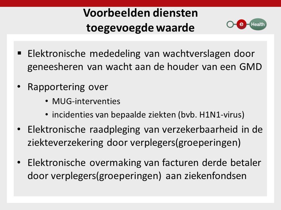 Voorbeelden diensten toegevoegde waarde  Elektronische mededeling van wachtverslagen door geneesheren van wacht aan de houder van een GMD Rapportering over MUG-interventies incidenties van bepaalde ziekten (bvb.
