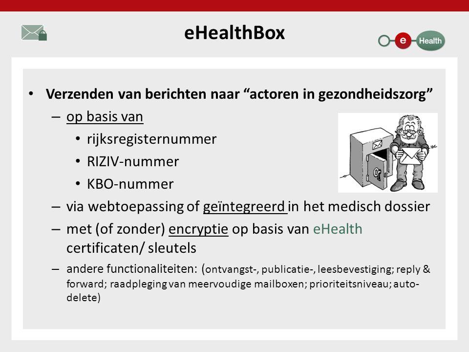eHealthBox Verzenden van berichten naar actoren in gezondheidszorg – op basis van rijksregisternummer RIZIV-nummer KBO-nummer – via webtoepassing of geïntegreerd in het medisch dossier – met (of zonder) encryptie op basis van eHealth certificaten/ sleutels – andere functionaliteiten: ( ontvangst-, publicatie-, leesbevestiging; reply & forward; raadpleging van meervoudige mailboxen; prioriteitsniveau; auto- delete)