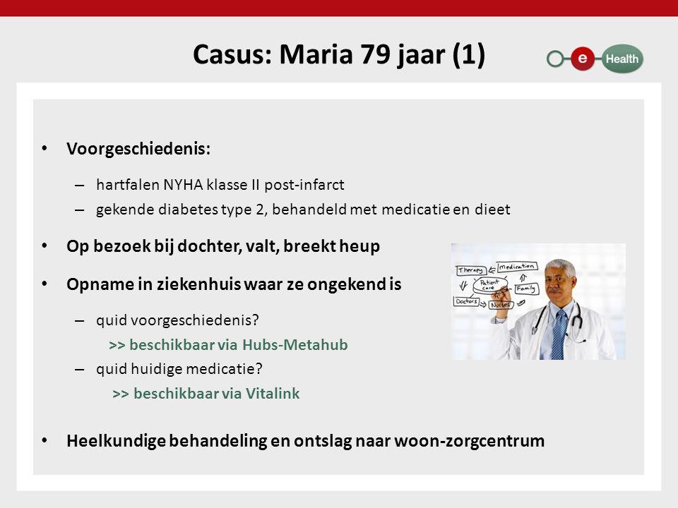 Casus: Maria 79 jaar (1) Voorgeschiedenis: – hartfalen NYHA klasse II post-infarct – gekende diabetes type 2, behandeld met medicatie en dieet Op bezo