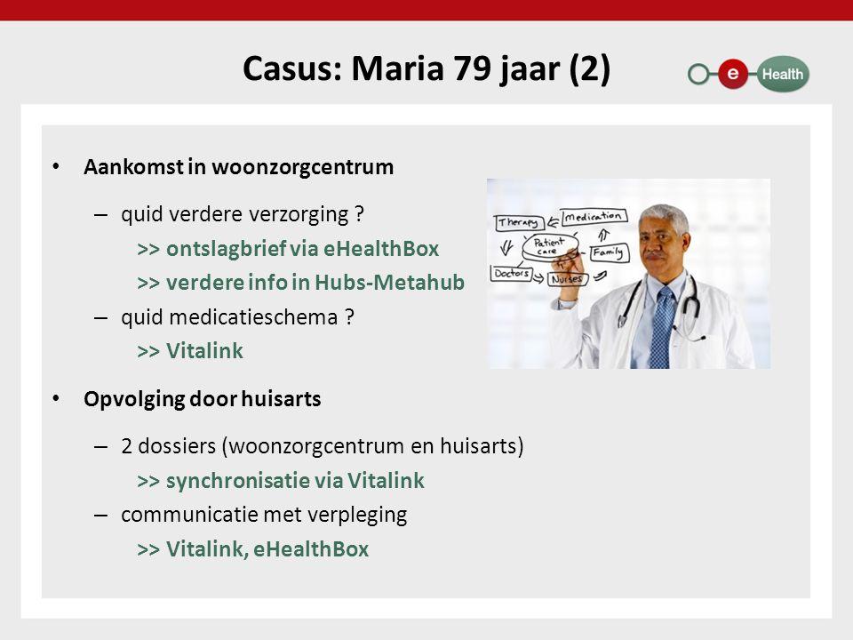 Casus: Maria 79 jaar (2) Aankomst in woonzorgcentrum – quid verdere verzorging ? >> ontslagbrief via eHealthBox >> verdere info in Hubs-Metahub – quid
