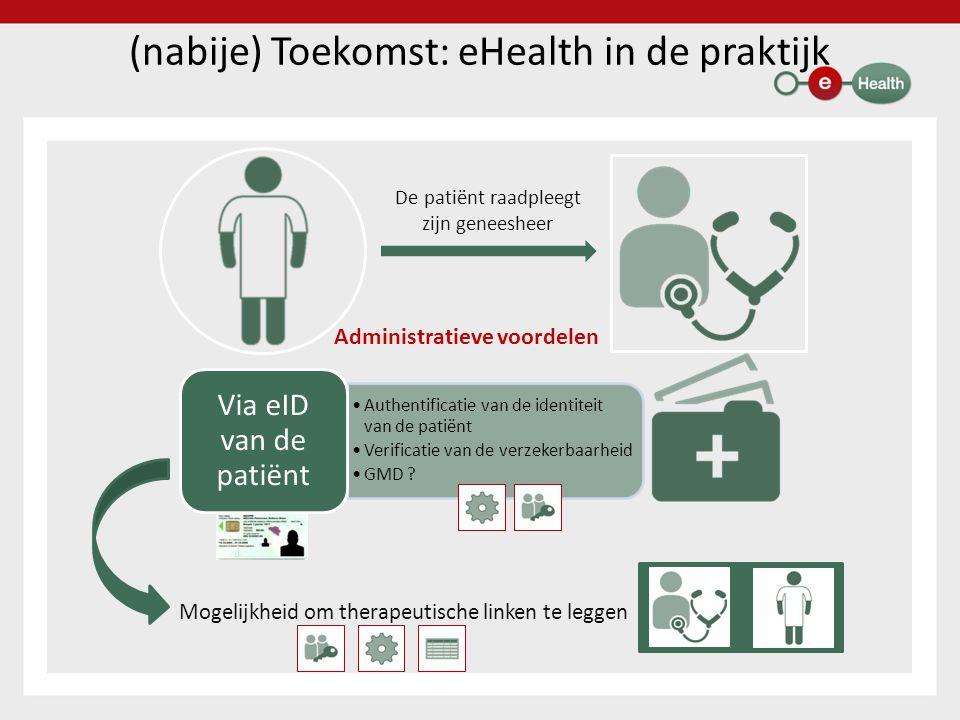 (nabije) Toekomst: eHealth in de praktijk De patiënt raadpleegt zijn geneesheer Administratieve voordelen Mogelijkheid om therapeutische linken te leggen