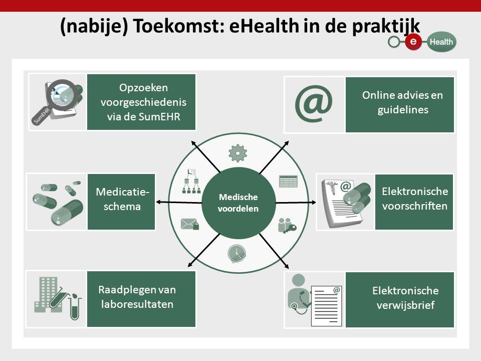 Medische voordelen (nabije) Toekomst: eHealth in de praktijk Raadplegen van laboresultaten Opzoeken voorgeschiedenis via de SumEHR Medicatie- schema Online advies en guidelines Elektronische verwijsbrief Elektronische voorschriften