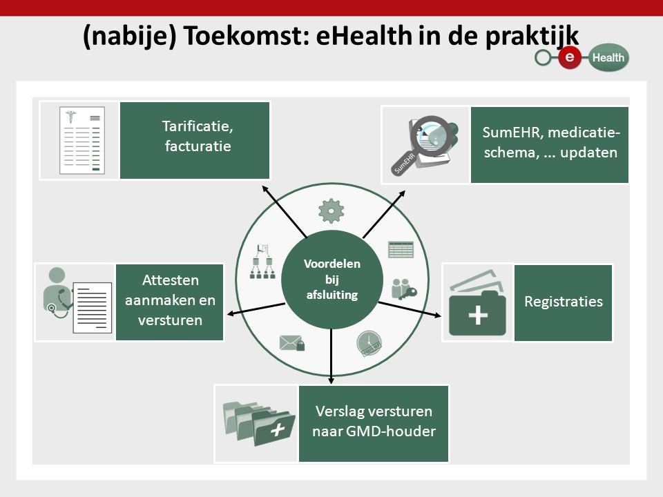 Voordelen bij afsluiting (nabije) Toekomst: eHealth in de praktijk Tarificatie, facturatie Attesten aanmaken en versturen SumEHR, medicatie- schema,..