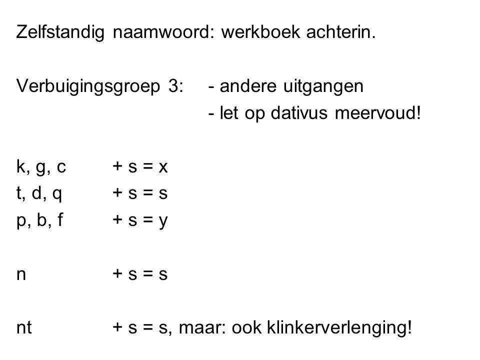 Zelfstandig naamwoord: werkboek achterin. Verbuigingsgroep 3:- andere uitgangen - let op dativus meervoud! k, g, c + s = x t, d, q + s = s p, b, f + s