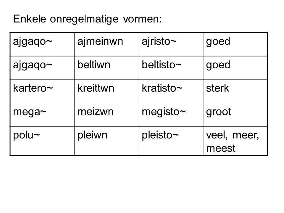 Enkele onregelmatige vormen: ajgaqo~ajmeinwnajristo~goed ajgaqo~beltiwnbeltisto~goed kartero~kreittwnkratisto~sterk mega~meizwnmegisto~groot polu~pleiwnpleisto~veel, meer, meest