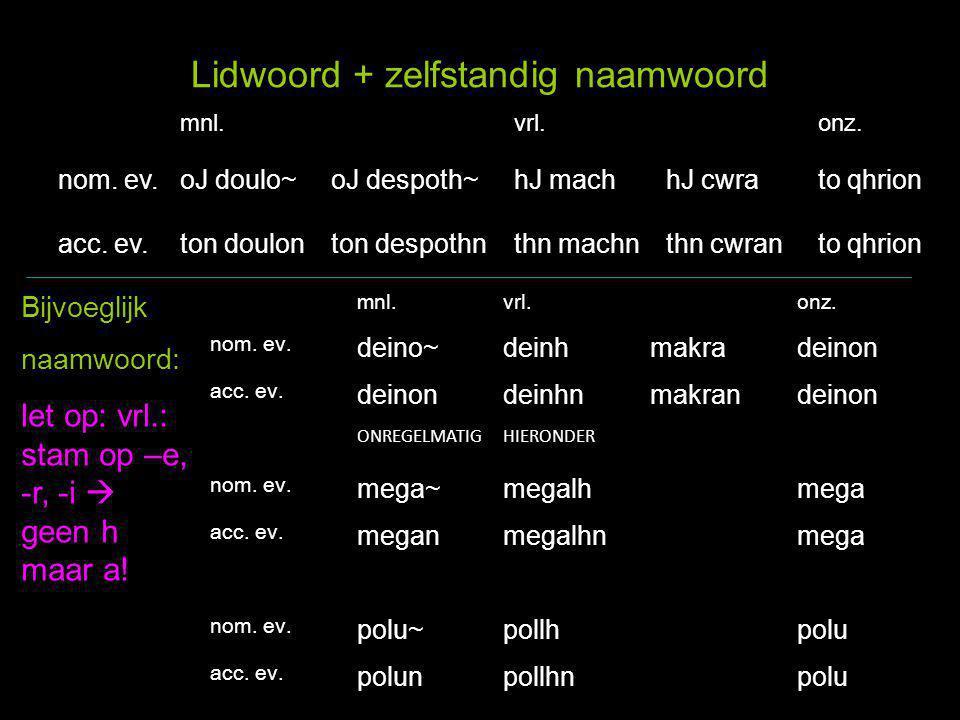 5A - het werkwoord: luwpoievw 1 e ev.luwpoiev + w =poiw` 2 e ev.luei~poiev + ei~ =poiei`~ 3 e ev.lueipoiev + ei =poiei` 1 e mv.luomenpoiev + omen =poiou`me n 2 e mv.luetepoiev + ete =poiei`te 3 e mv.luousi(n ) poiev + ousi(n) = poiou`si(n ) inf.lueinpoiev + ein =poiei`n