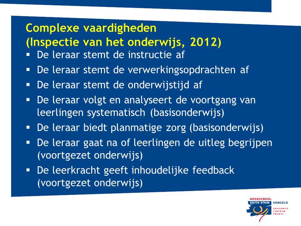 Complexe vaardigheden (Inspectie van het onderwijs, 2012)  De leraar stemt de instructie af  De leraar stemt de verwerkingsopdrachten af  De leraar