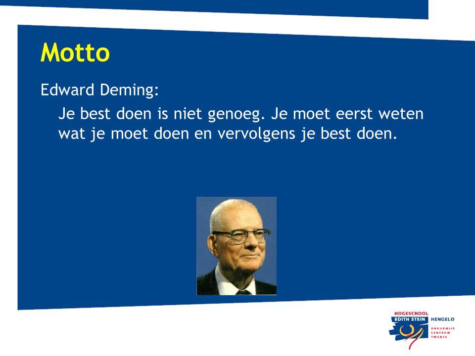 Motto Edward Deming: Je best doen is niet genoeg. Je moet eerst weten wat je moet doen en vervolgens je best doen.
