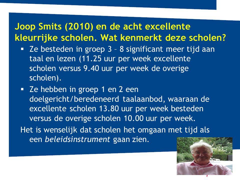 Joop Smits (2010) en de acht excellente kleurrijke scholen. Wat kenmerkt deze scholen?  Ze besteden in groep 3 – 8 significant meer tijd aan taal en
