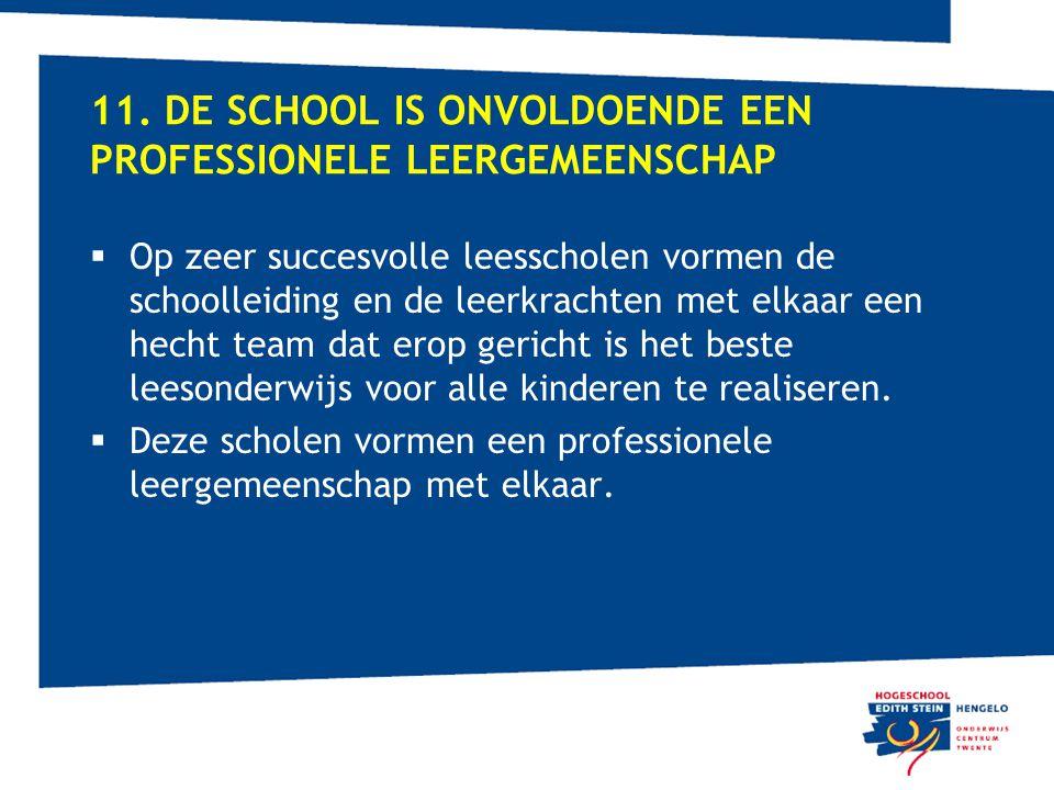 11. DE SCHOOL IS ONVOLDOENDE EEN PROFESSIONELE LEERGEMEENSCHAP  Op zeer succesvolle leesscholen vormen de schoolleiding en de leerkrachten met elkaar